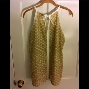 Tan and White Light Tank Blouse